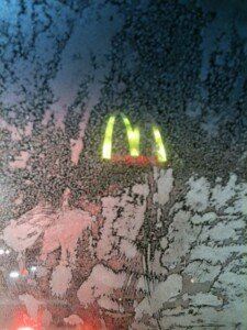 Looking out the car window, 2AM at the drive up